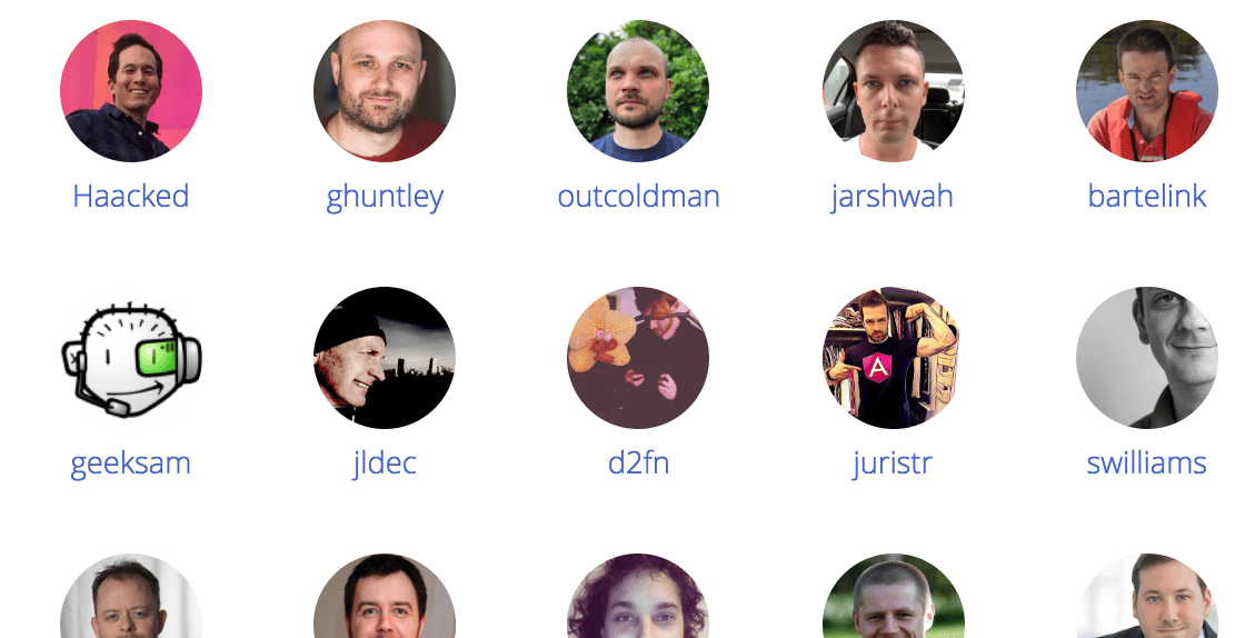 The end goal - list of contributors in columns