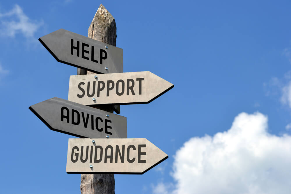 Help, Support, Advice, Guidance signposts from Shutterstock