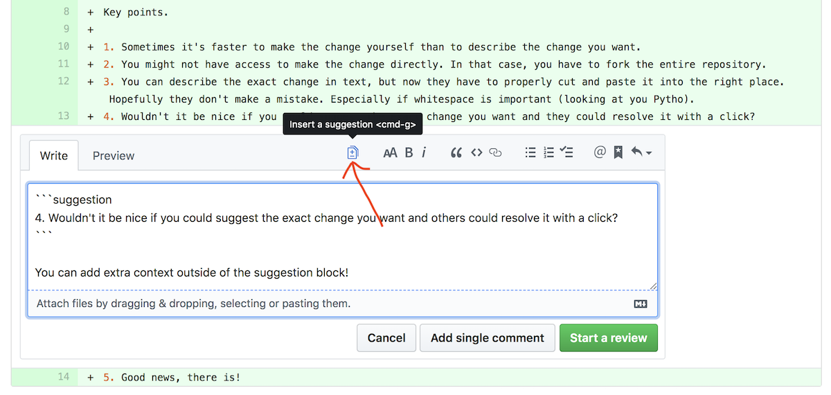 View of the comment form with the suggested change button