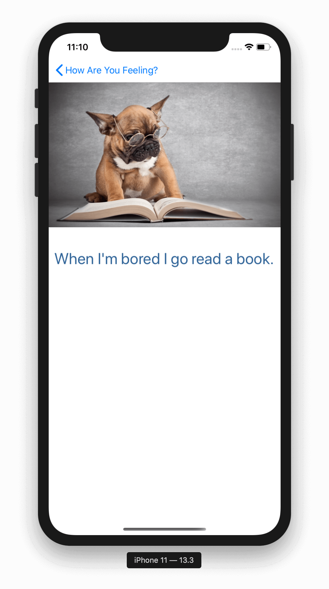 Image of iPhone screen with a photo of a dog with glasses looking at a book. Underneath is the caption: When I'm bored, I go read a book.