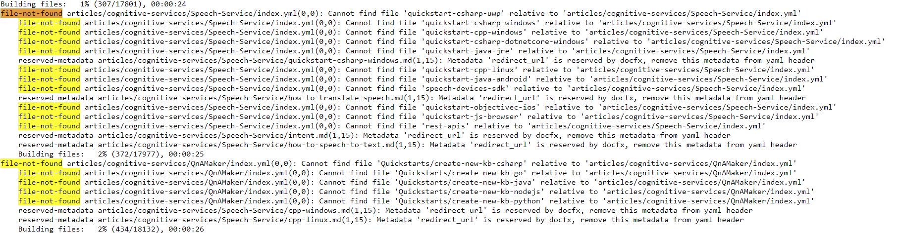landingData throws a lot of `file not found` warnings