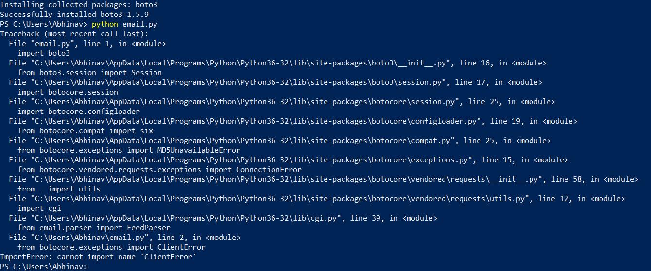 python cant import boto3