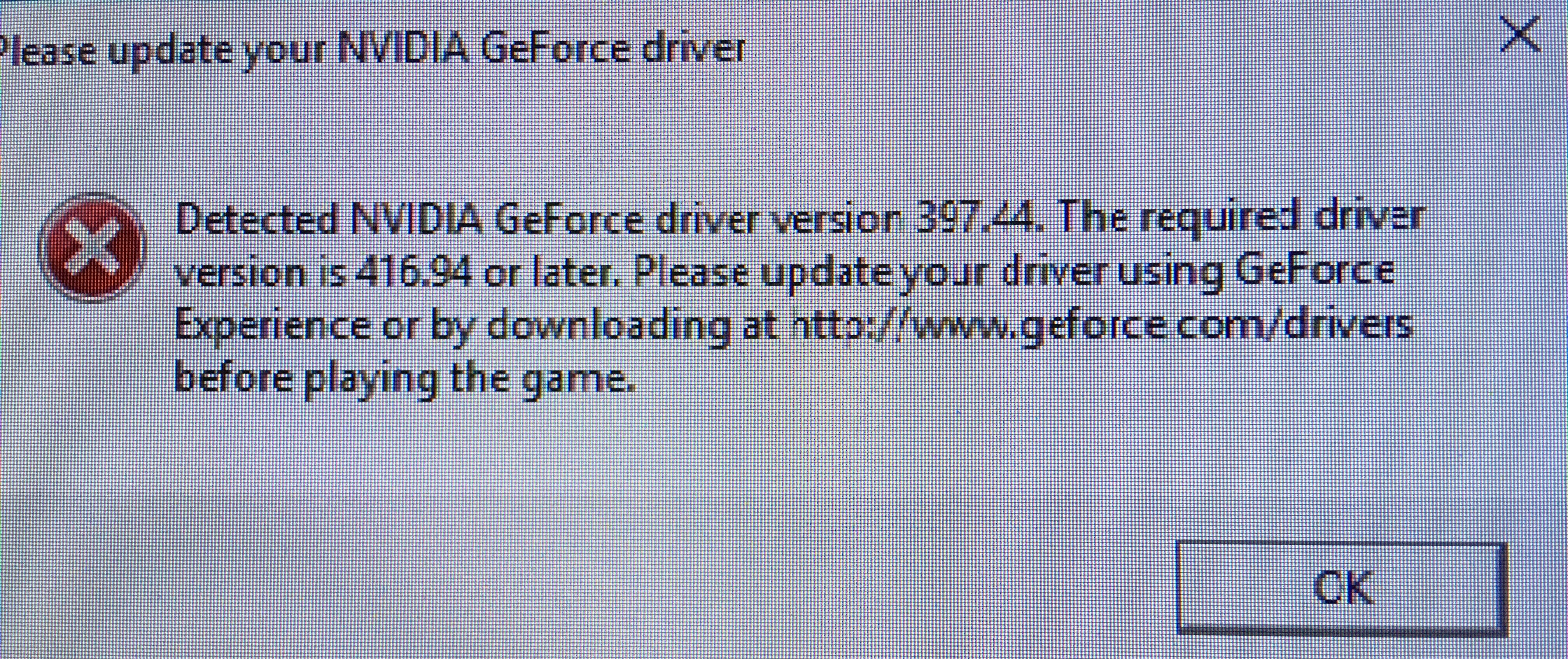 416 94 nvidia driver required - 397 44 detected