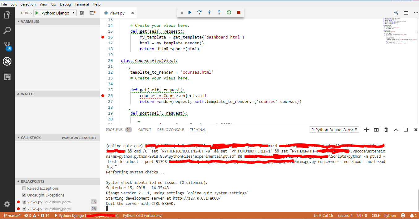 Django debug lines with breakpoints are not highlighted in UI ...
