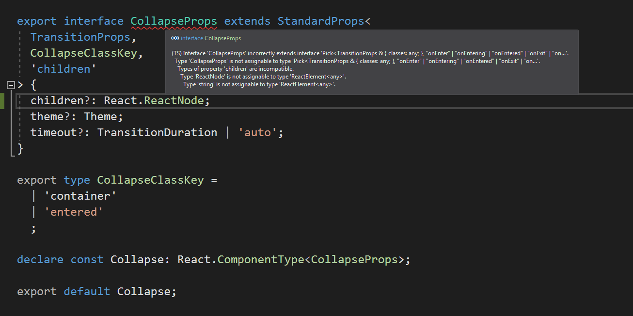 Typescript] Cannot compiler on typing class CollapseProps