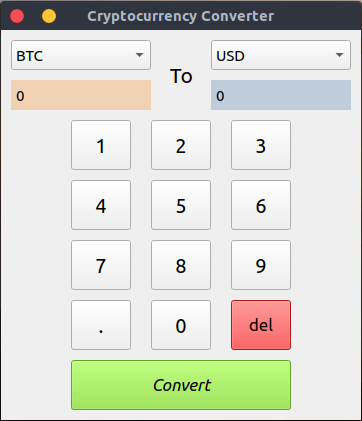 Image of the cryptocurrency converter Python/PyQt5 app