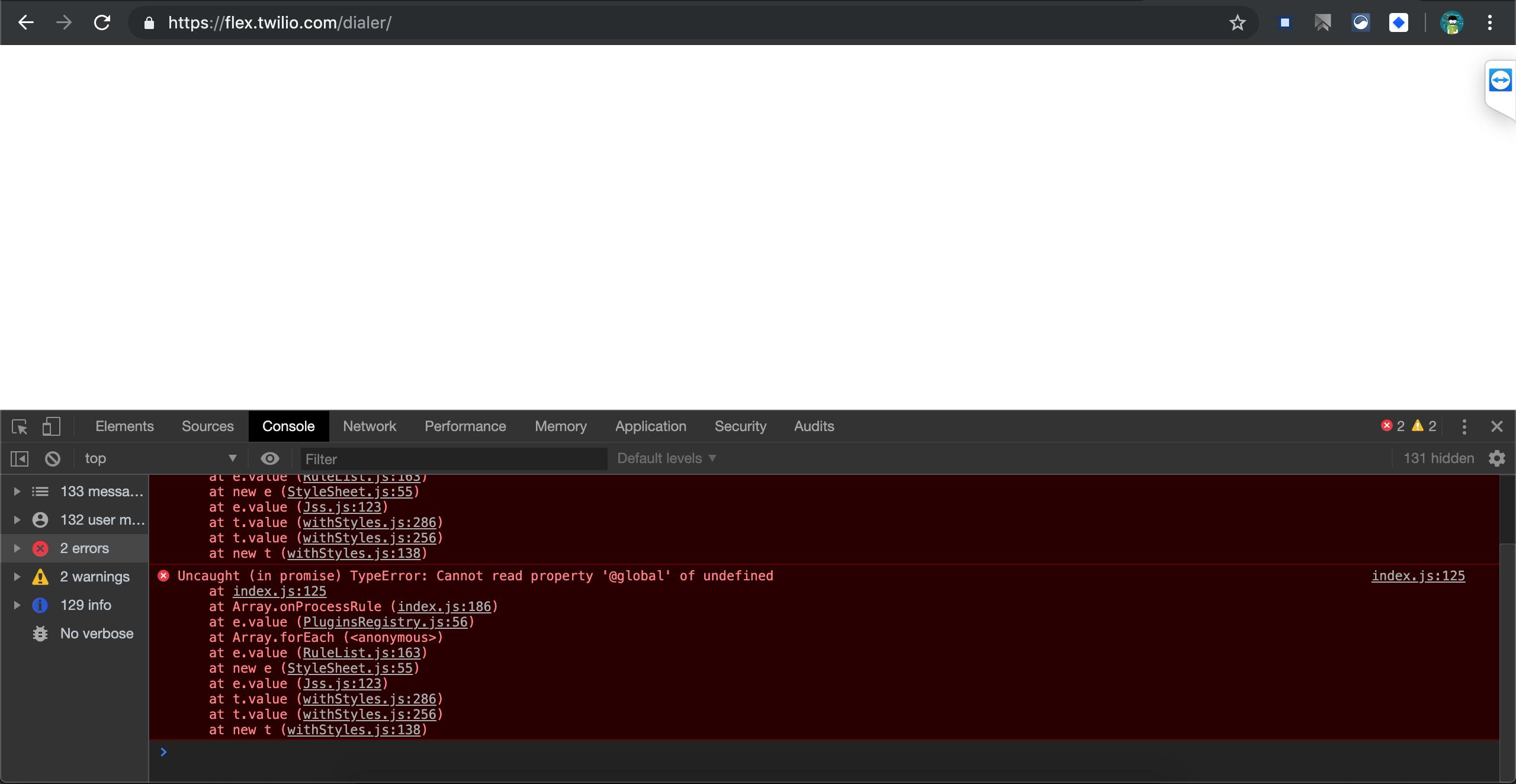 Plugin shows empty screen