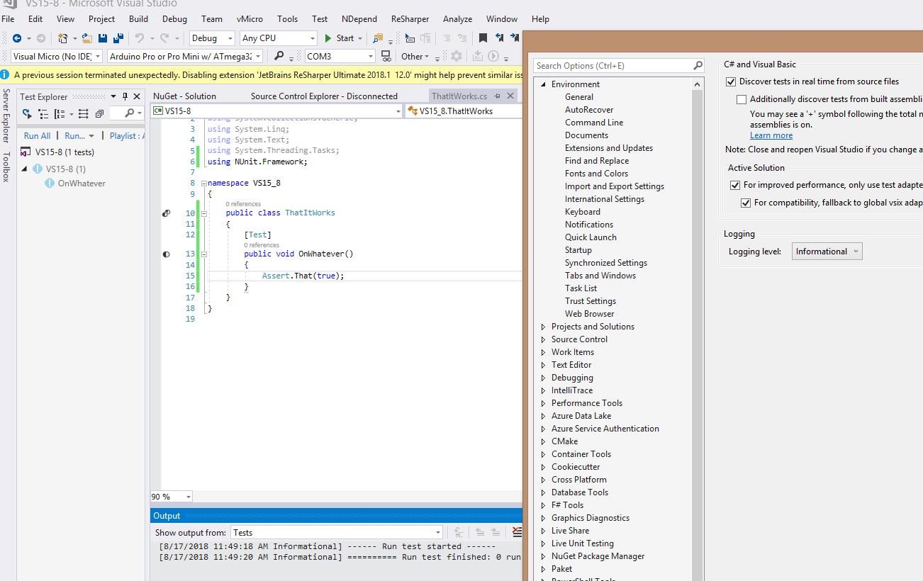 NUnitTestAdapter 2 1 1 not working with Visual Studio 2017 15 8 0