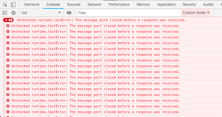 Unchecked runtime lastError: The message port closed before