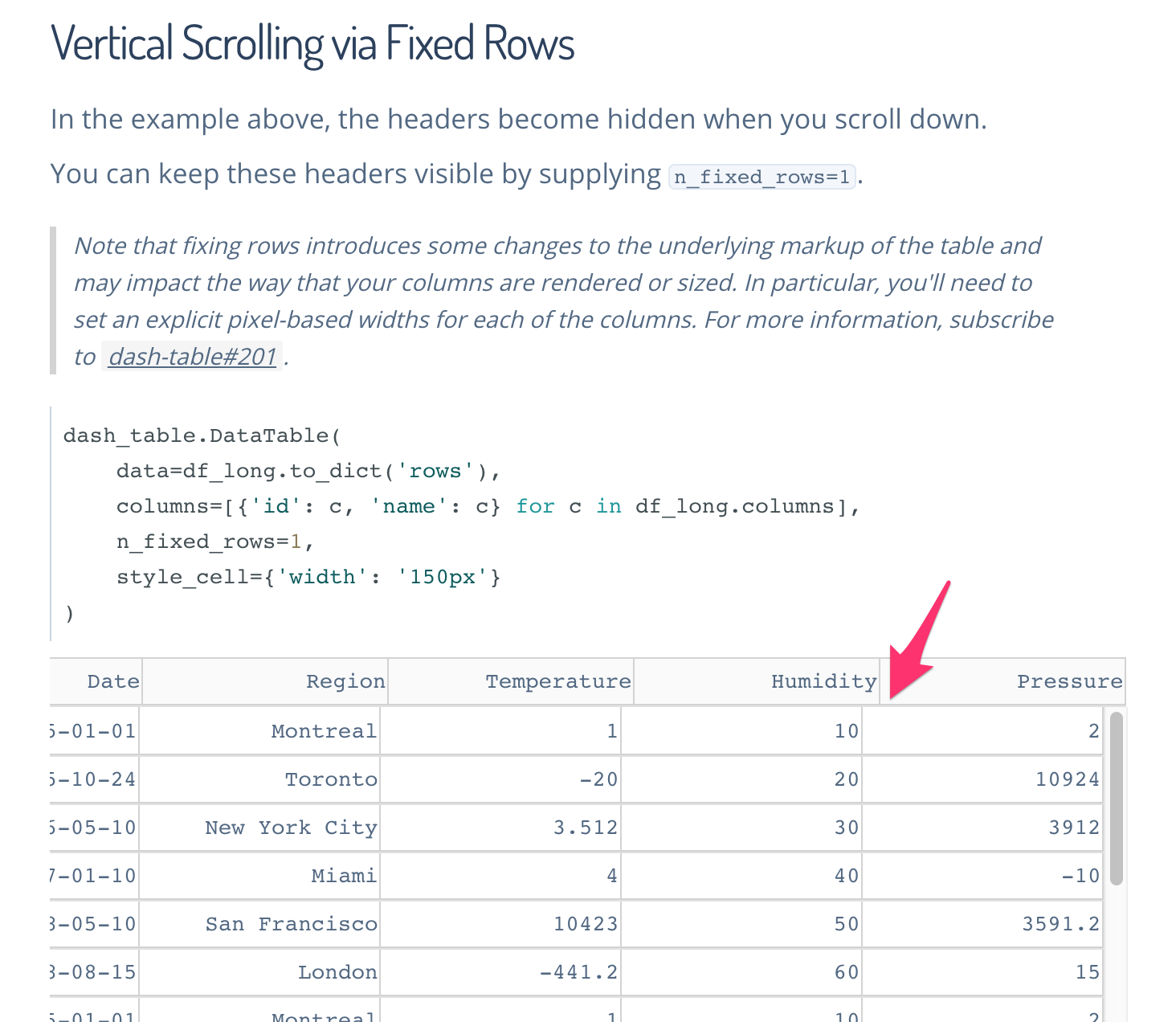 Side scroll misalignment · Issue #216 · plotly/dash-table