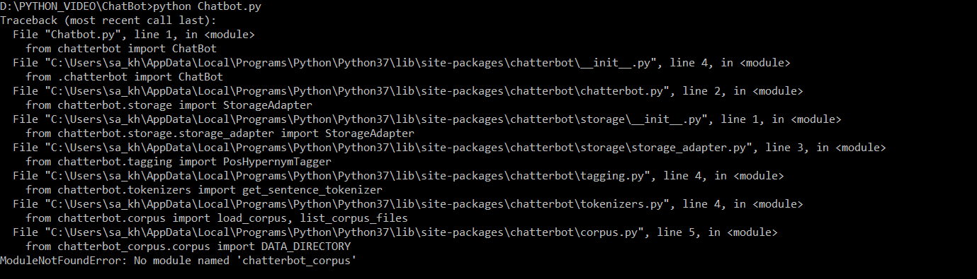 Not able to install chatterbot-corpus library using pip