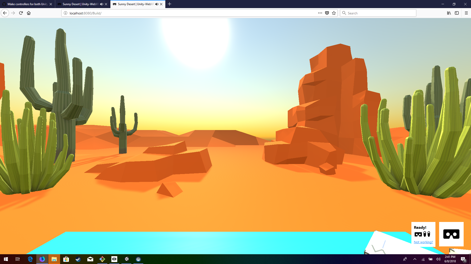 starting camera position is different in Unity XR player vs  WebVR