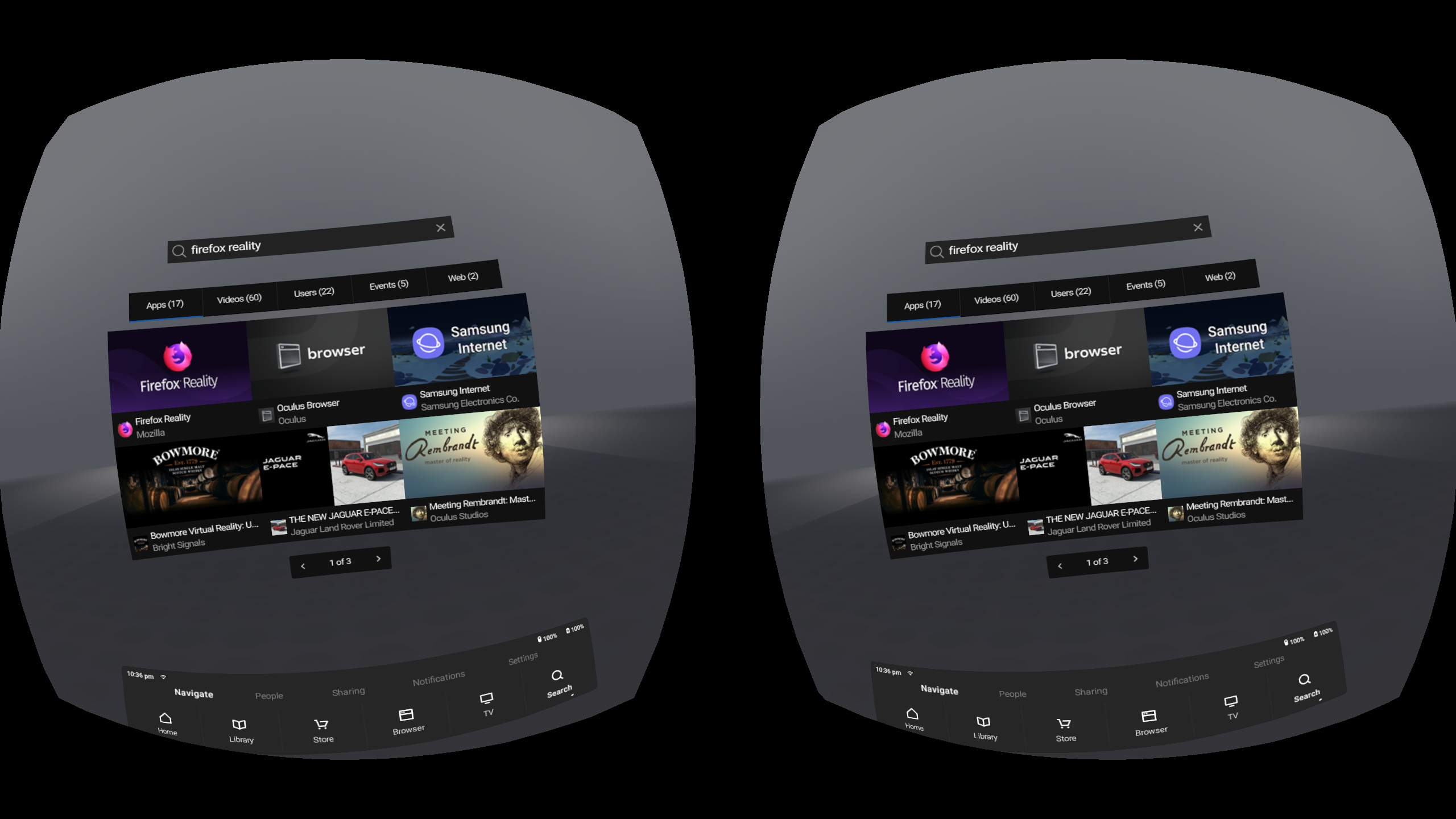 "Oculus Store search results for ""Firefox Reality"""