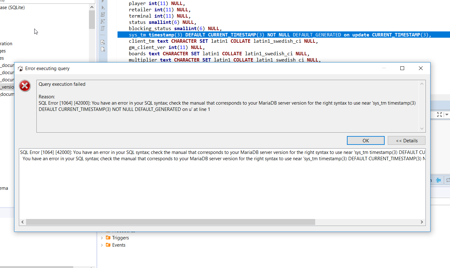 Dbeaver generated sql reports errors when trying to execute it