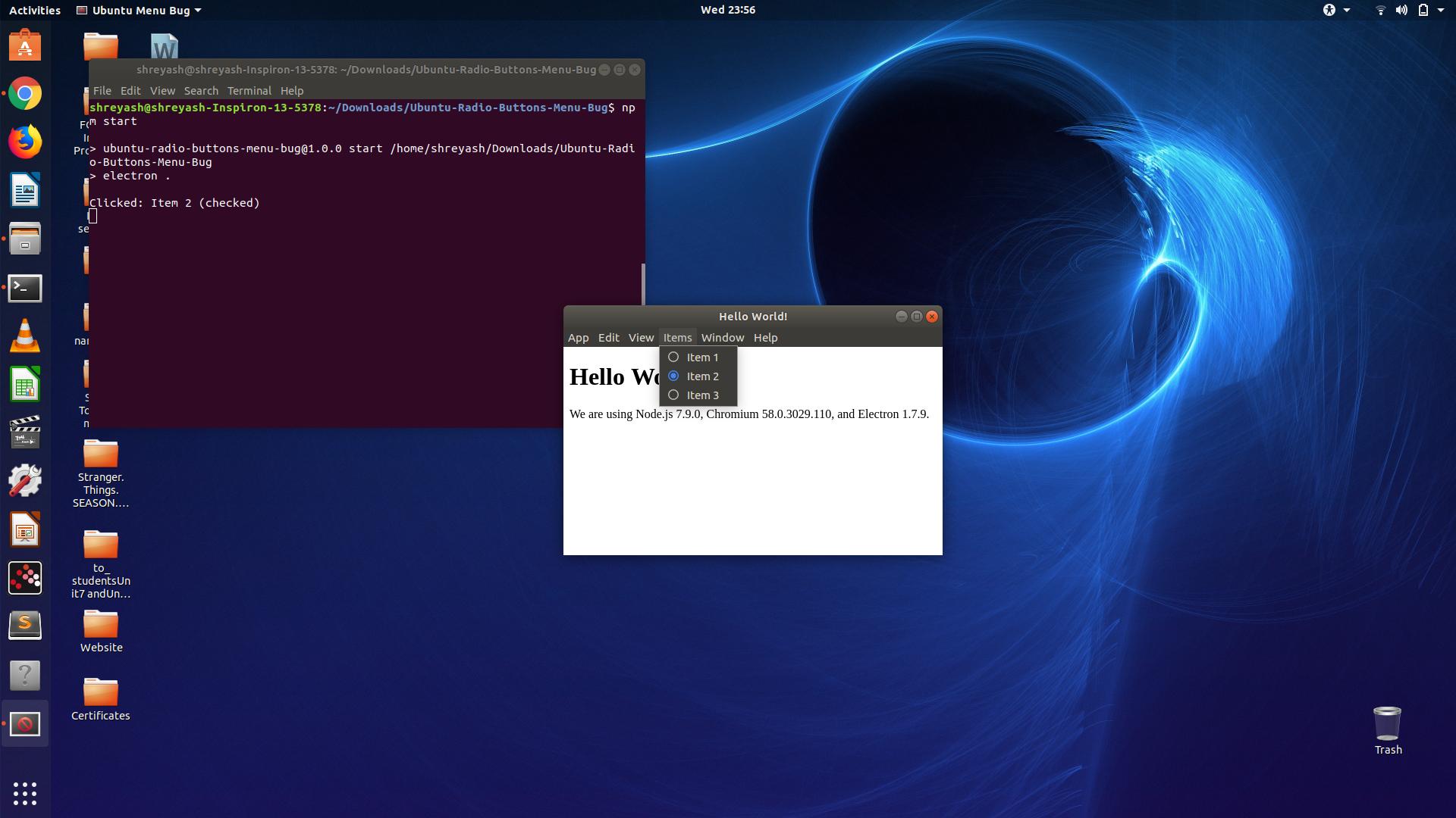 In Ubuntu, a radio-buttons menu is never updated after