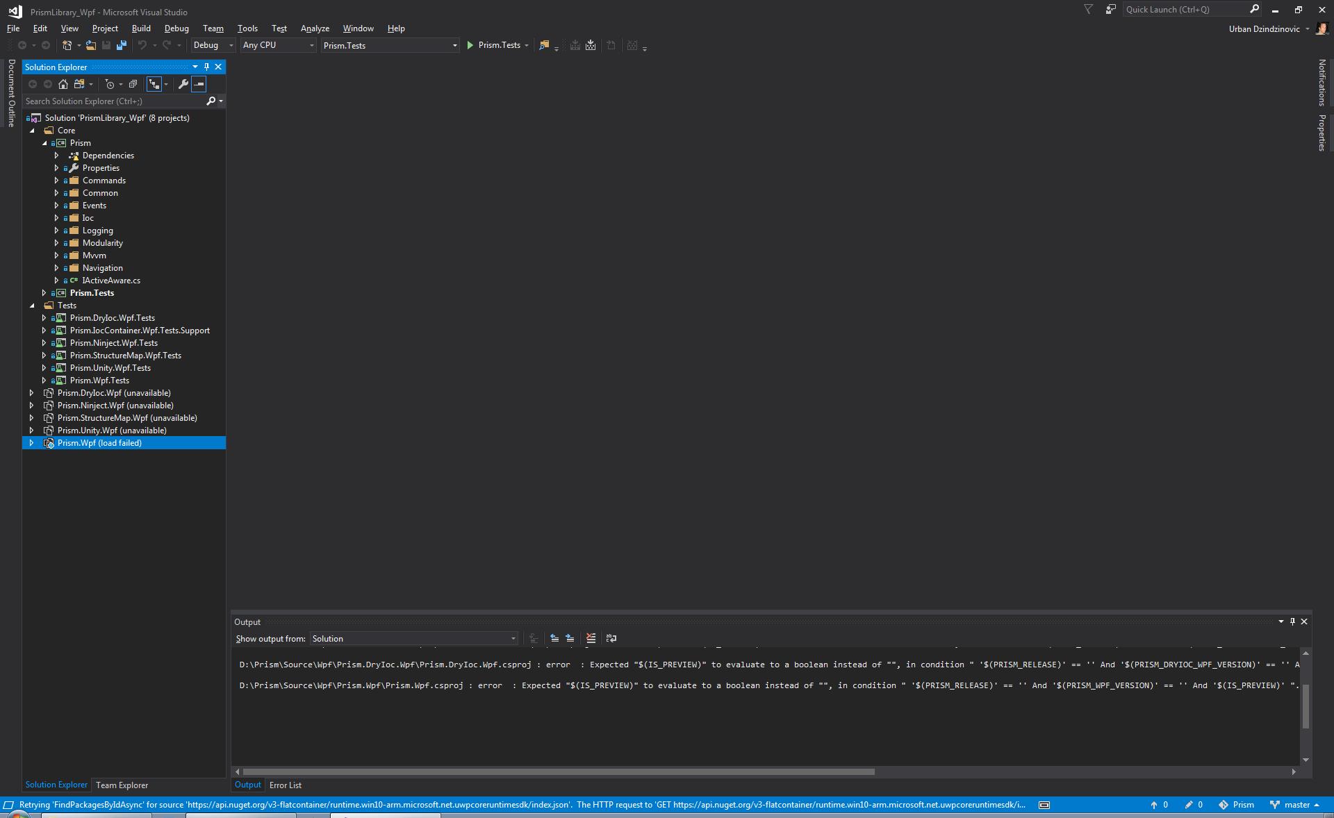 Prism Wpf csproj fails to load in Visual Studio · Issue