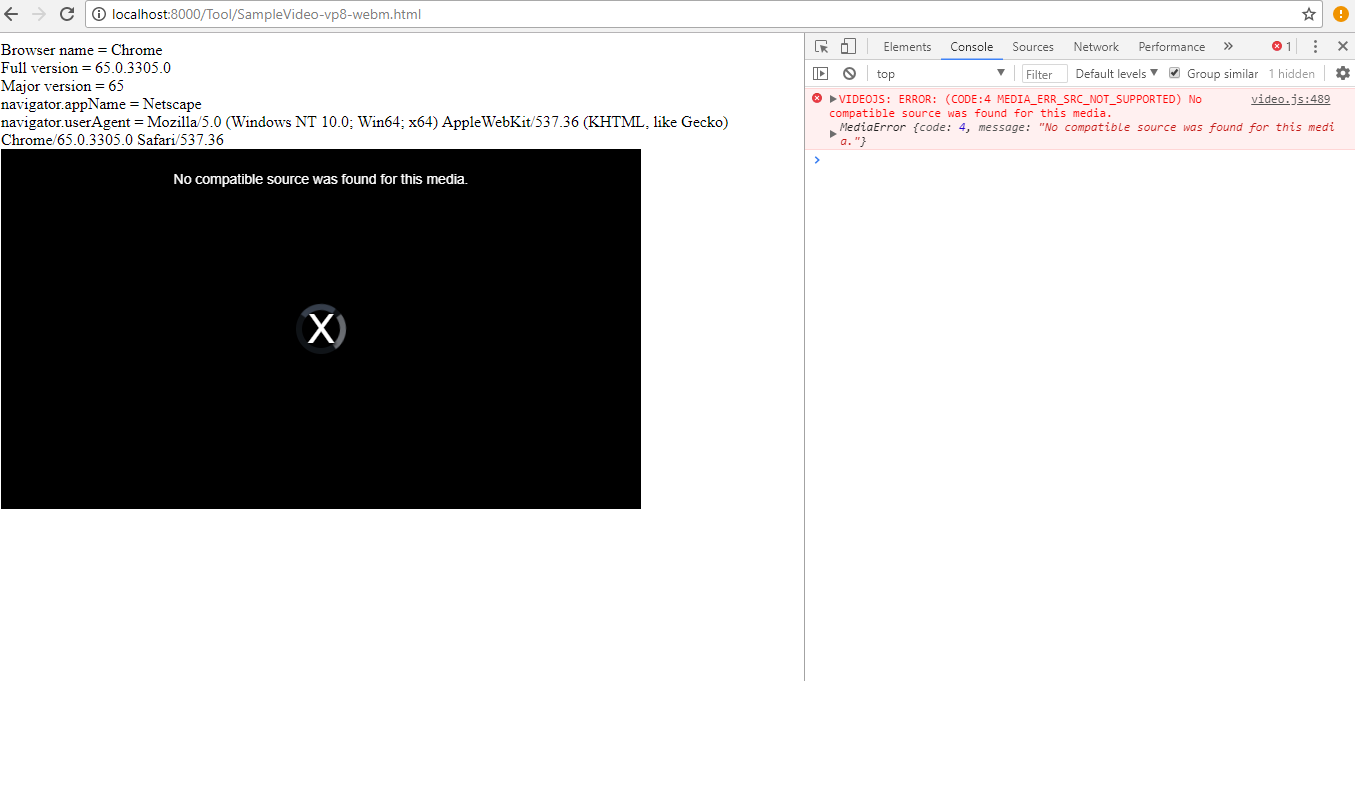 VIDEOJS: ERROR: (CODE:4 MEDIA_ERR_SRC_NOT_SUPPORTED) No compatible