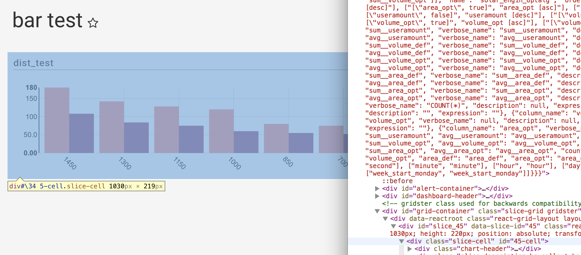 For bar charts, widths of 'row chart-container' are 20px
