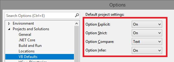 VB:  NET Standard class library project should honour defaults