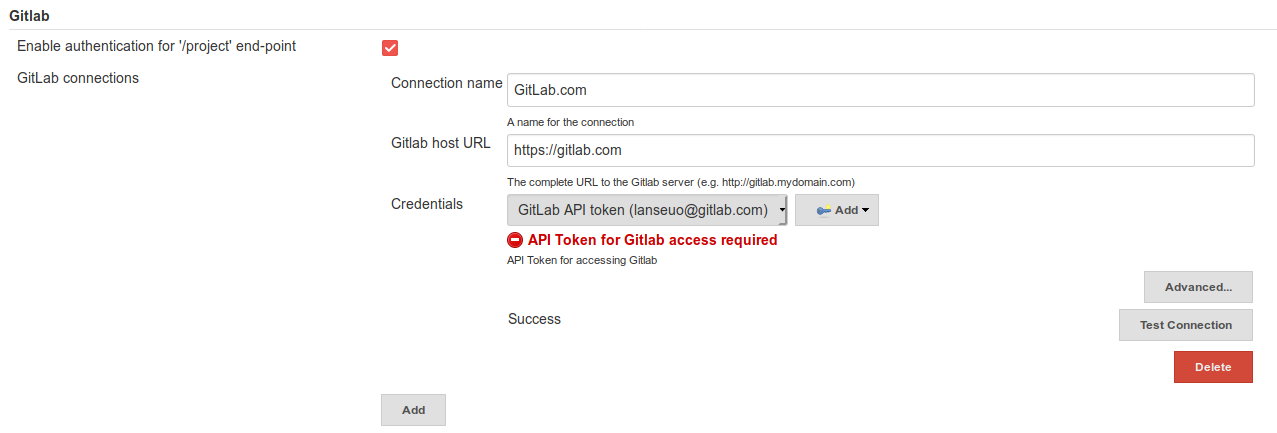 Can't submit build status: No GitLab connection configured