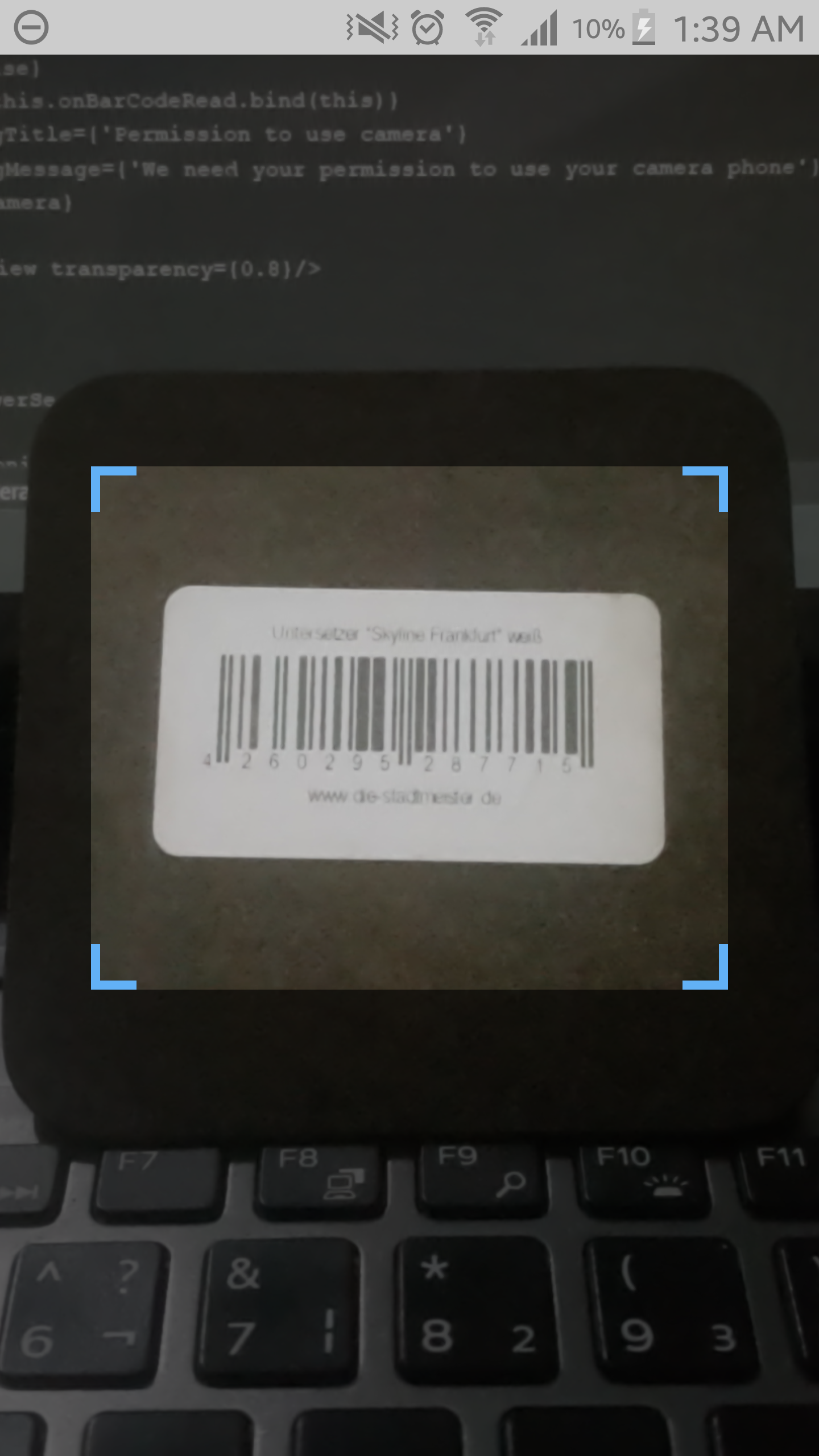 A barcode scan layout for react-native applications with