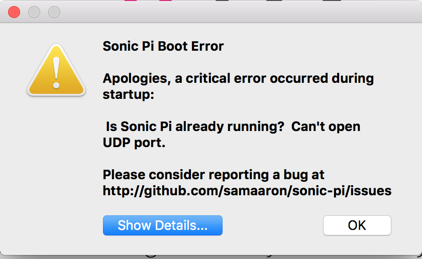 Apologies, a critical error occurred during startup: Sonic Pi v3 1 0