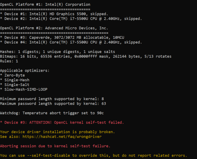 OpenCl kernel self-test failed when using any version later