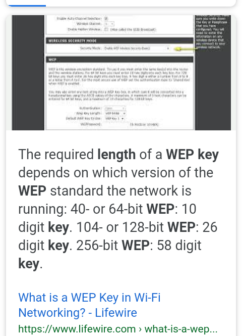 wep 64 bit password length