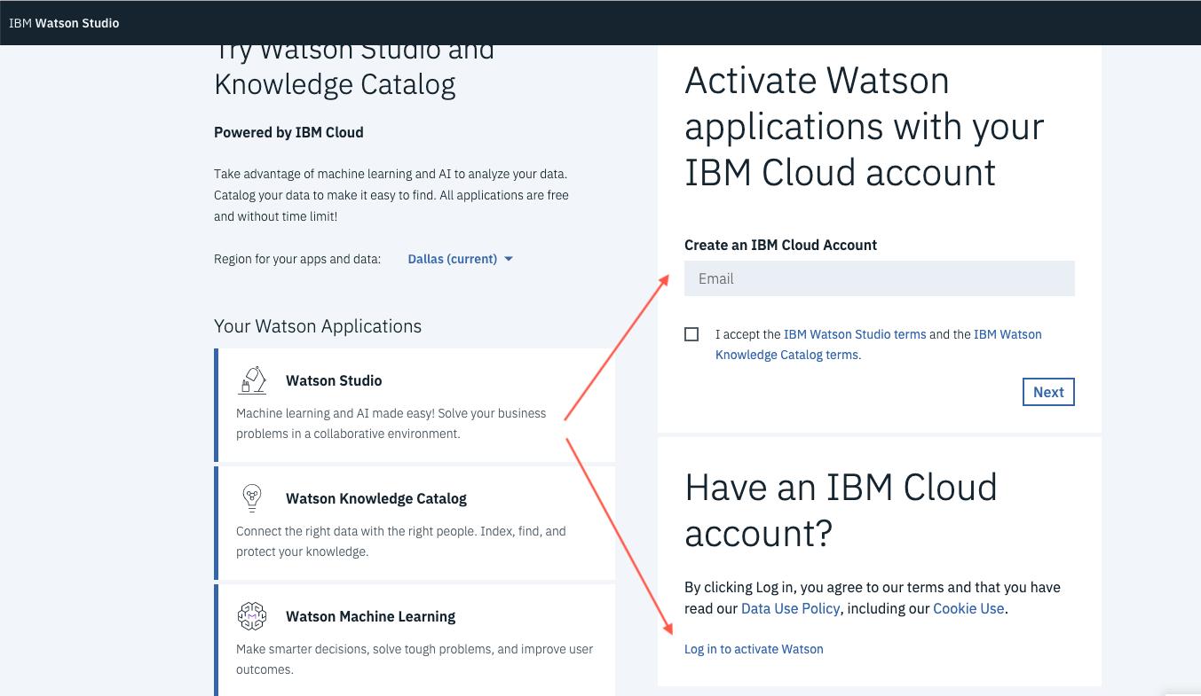 Watson Studio Registration Steps · Issue #20 · IBM/Frida