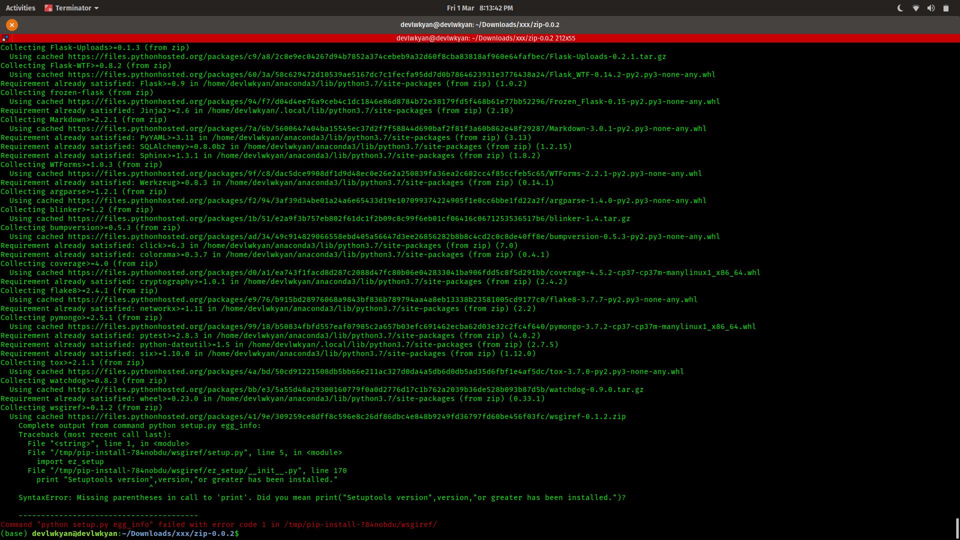 python setup.py egg_info failed with error code 1 rpy2