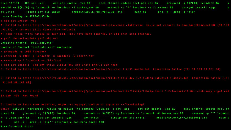 在laradock项目中执行docker-compose up -d nginx mysql时报错
