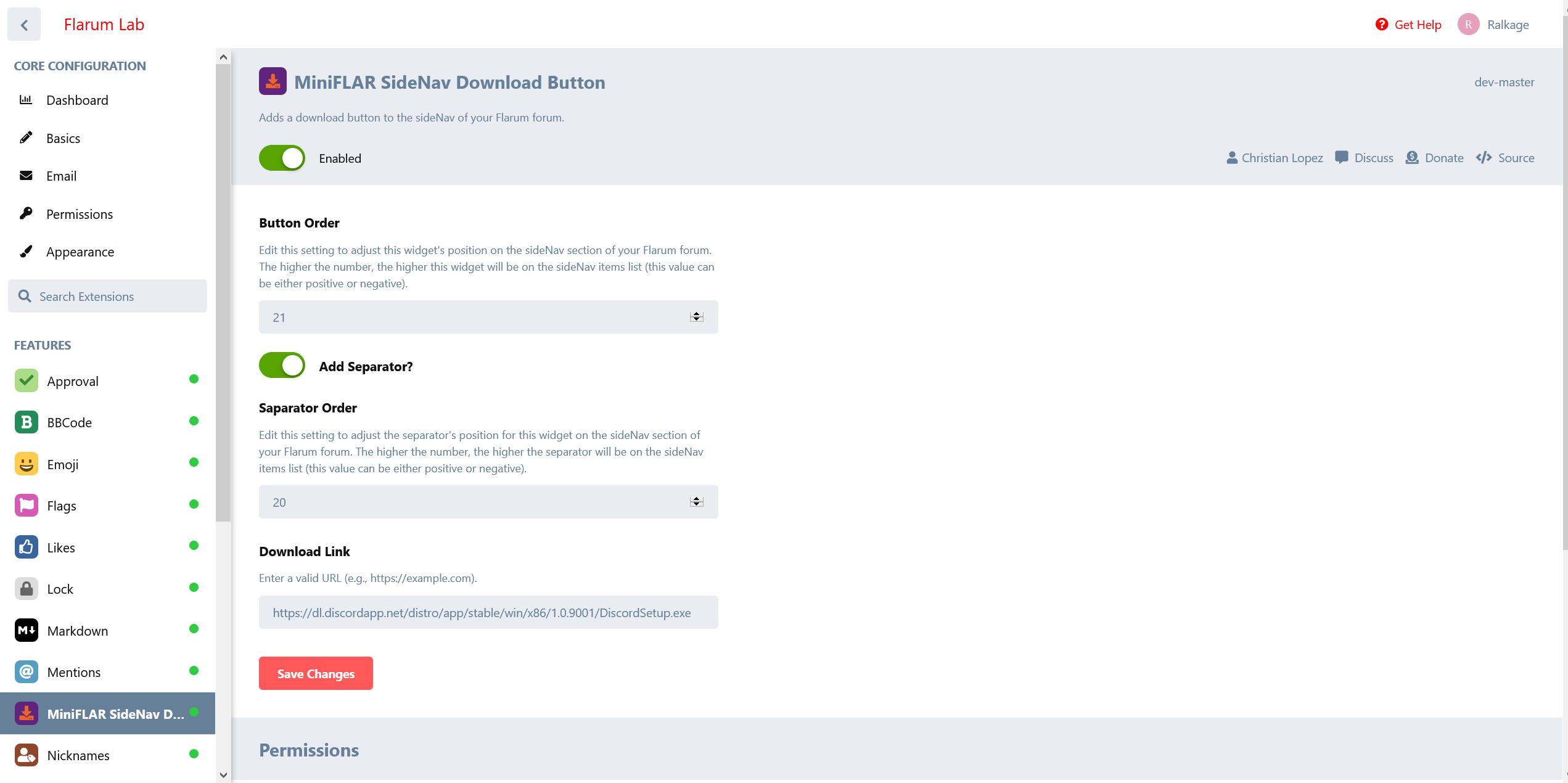 MiniFLAR SideNav Download Button Settings
