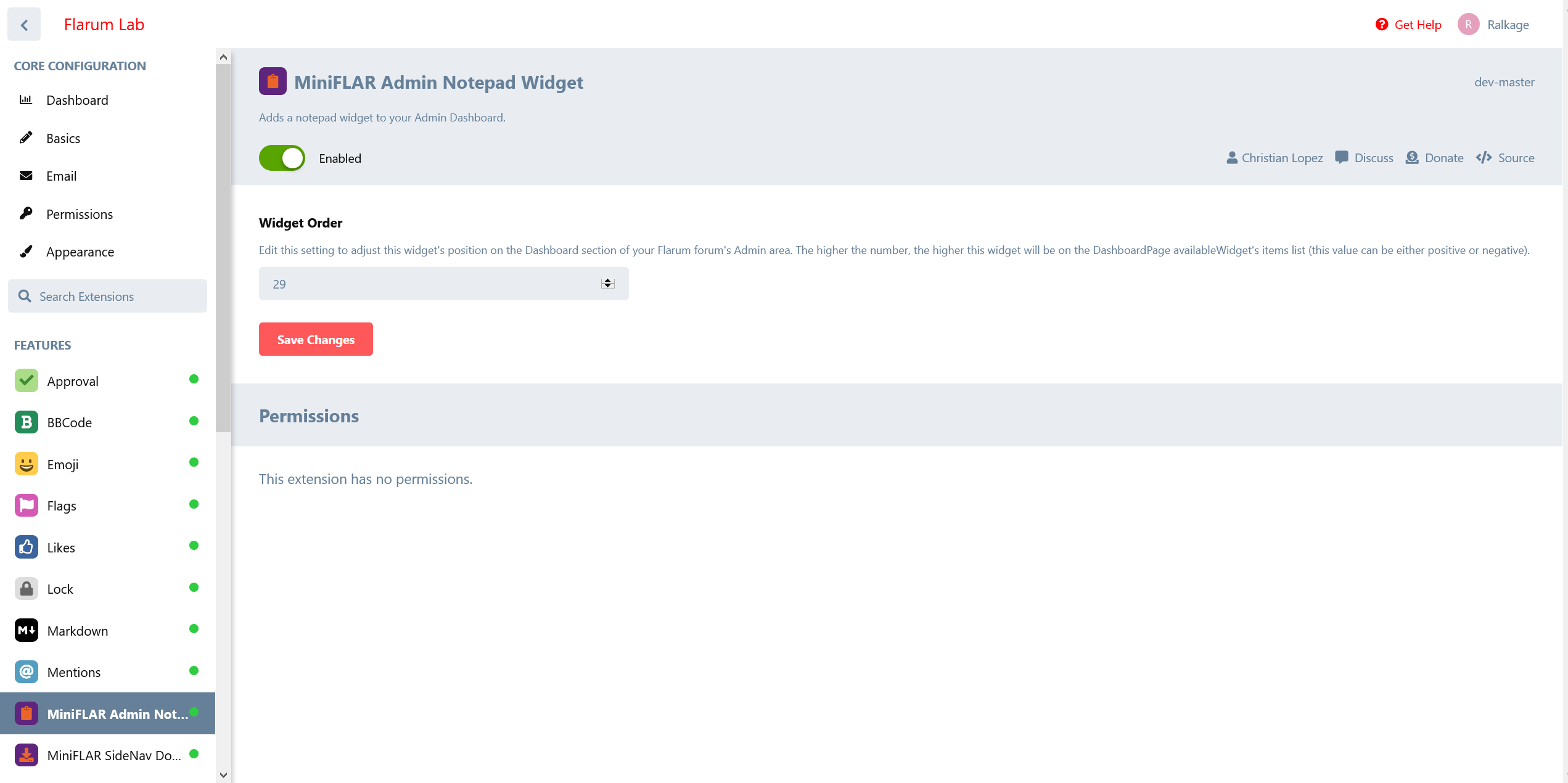 miniFLAR Admin Notepad Widget Settings