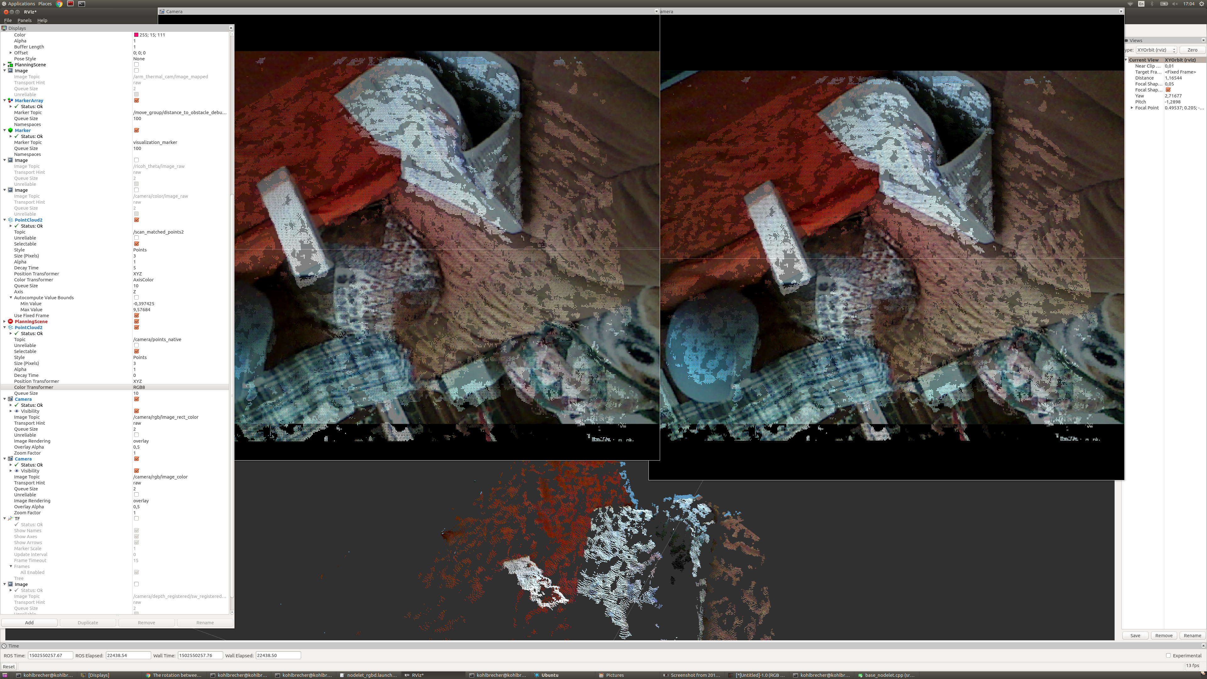 ROS published registered point cloud has significantly higher