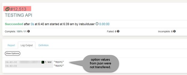 Unable to pass options/arguments via json RestAPI · Issue