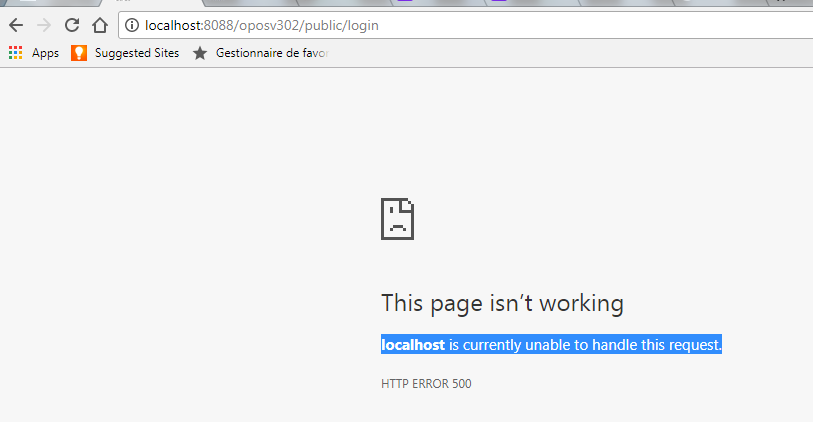 The localhost page isn't working  localhost is currently