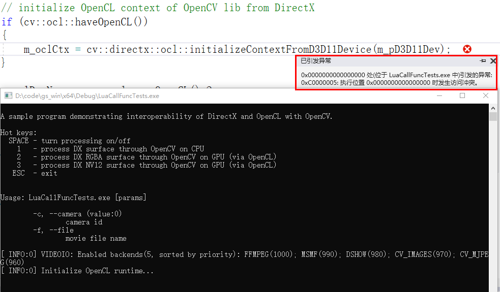 OpenCL: Can't create context for DirectX interop in function cv