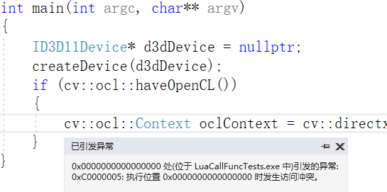 OpenCL: Can't create context for DirectX interop in function