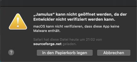 Jamulus wird von Gatekeeper blockiert