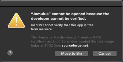 Jamulus blocked by Gatekeeper