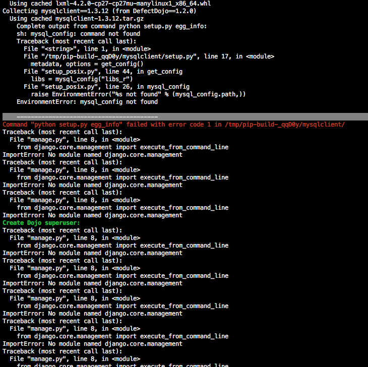 mysql_conf error when installing setup bash with postgres