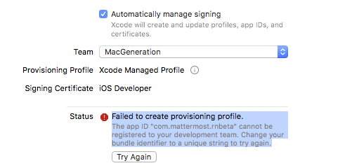 iOS build issues with signing · Issue #1522 · mattermost/mattermost