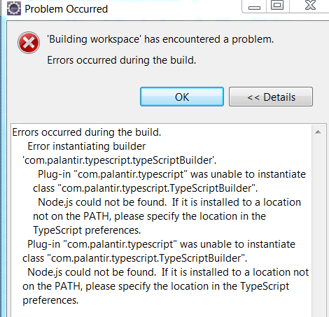 Error Occured while Building Workspace for using TypeScript