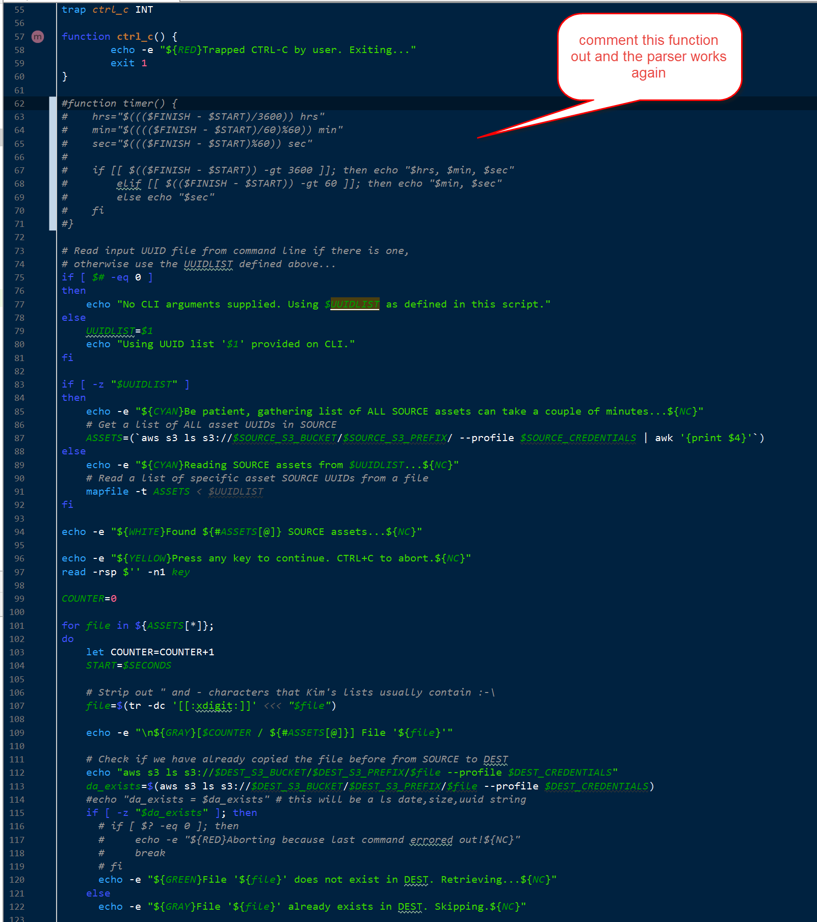 Bash editor color coding parser gets confused and out of whack