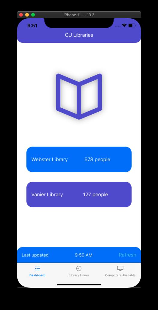 CU Libraries App Home screen