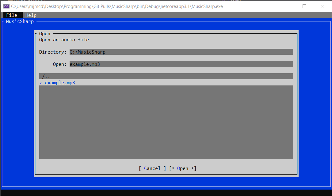 Screenshot of MusicSharp in early alpha stage.