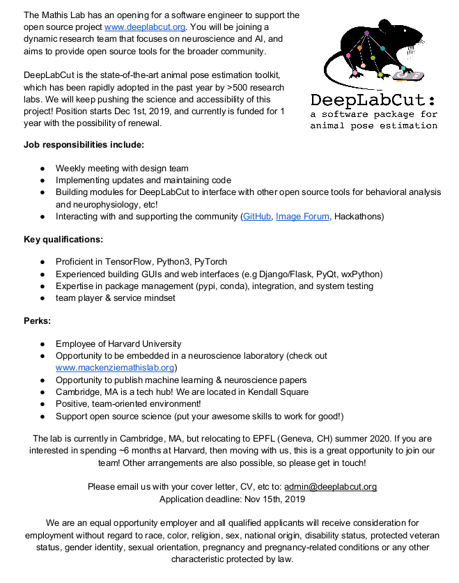 We are looking for a software Developer for DeepLabCut ...