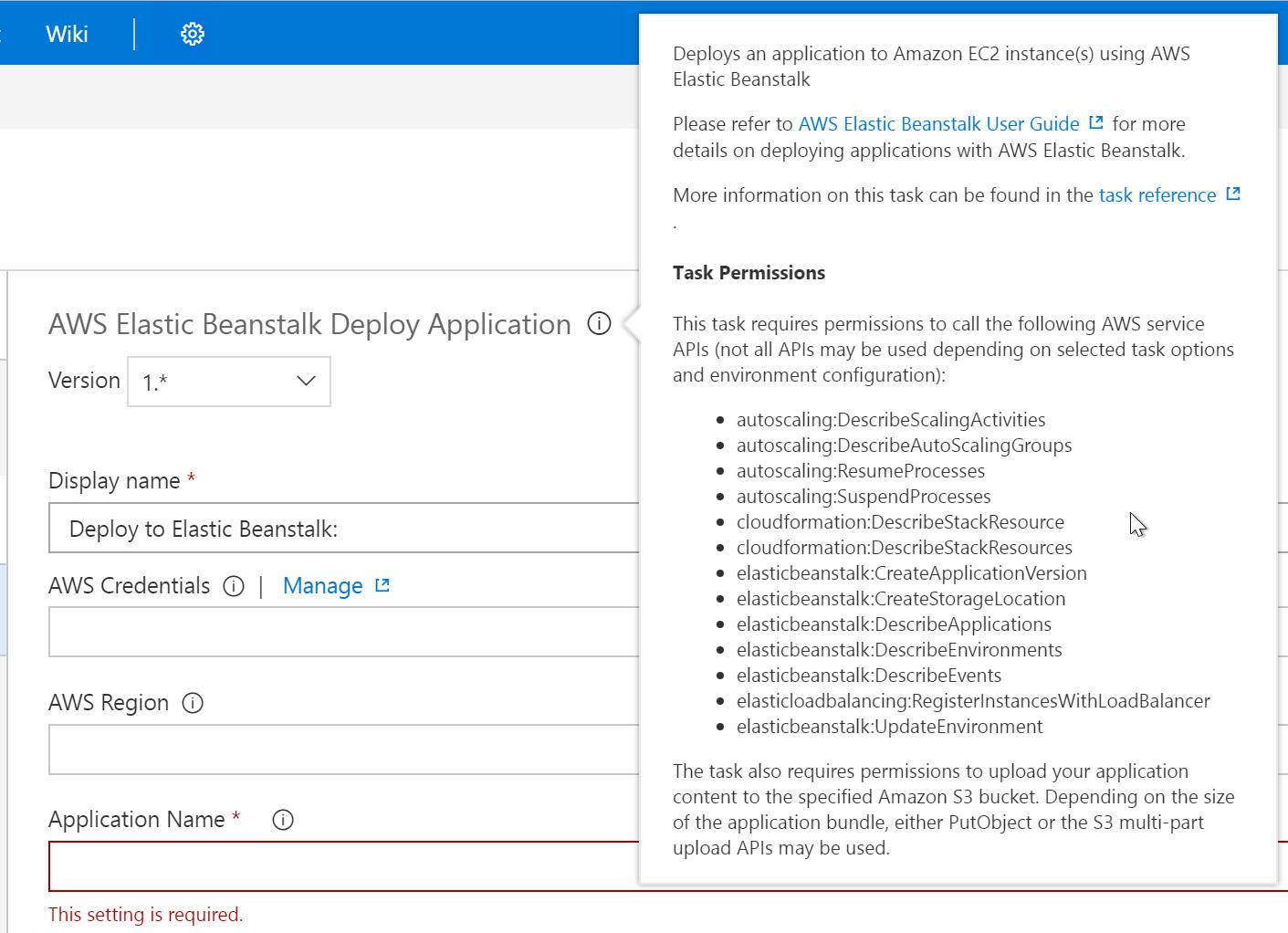AWS AWS Elastic Beanstalk Deploy Application Task