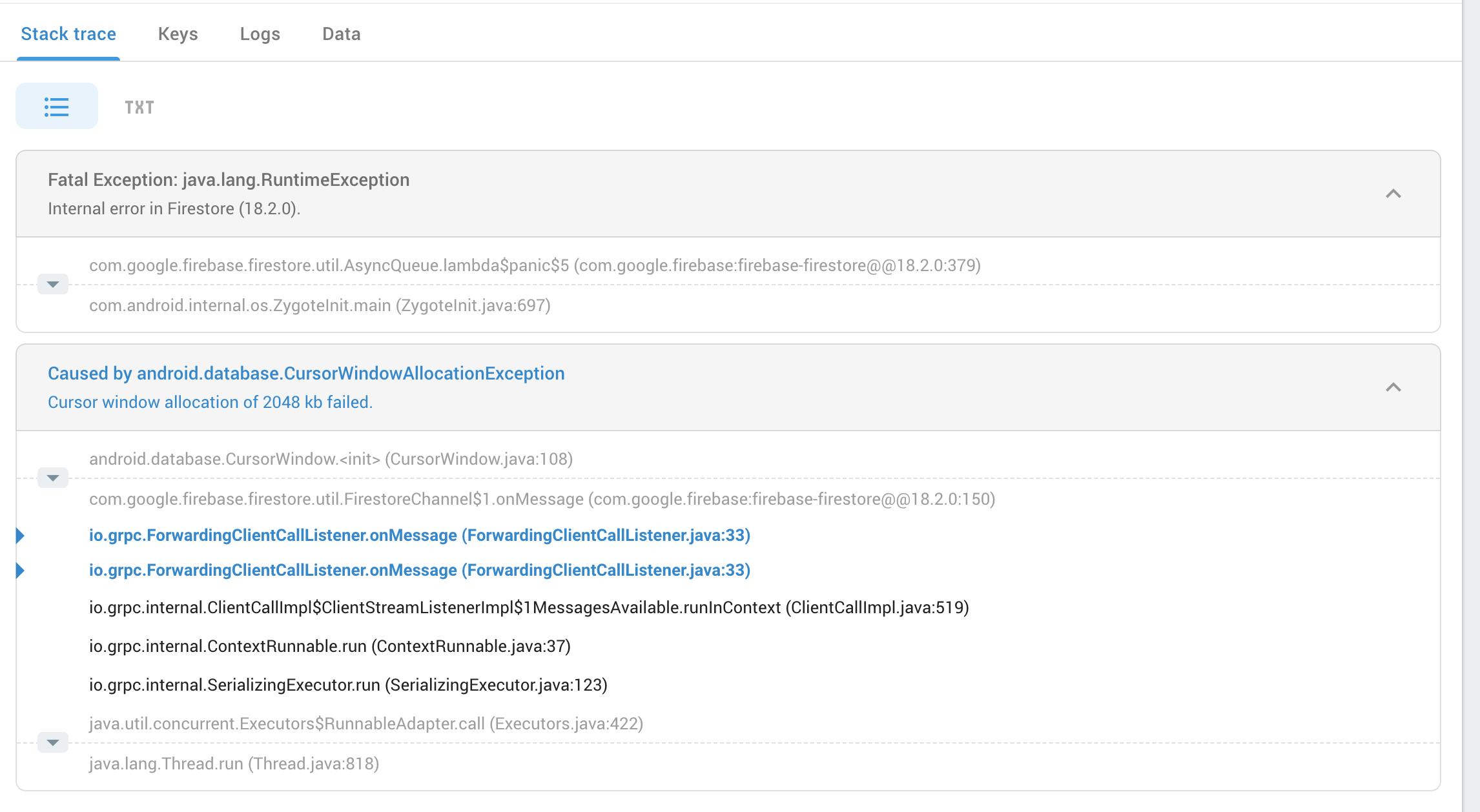firebase/firestore: getting internal error from AsyncQueue · Issue