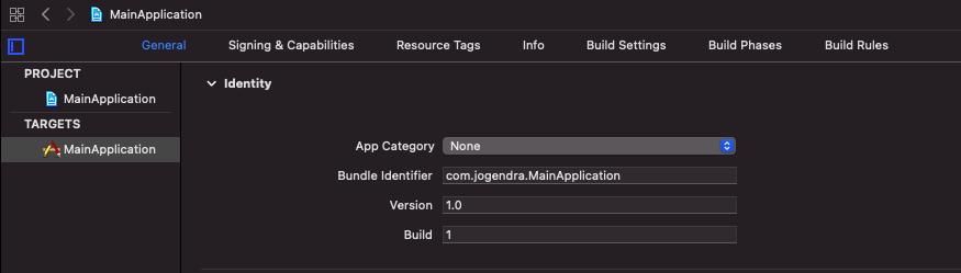 main application general settings